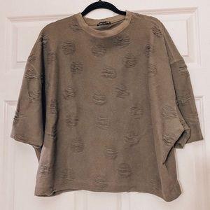 Grey distressed shirt